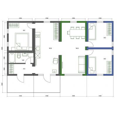 Modulares Haus 5-Zimmer-Grundriss